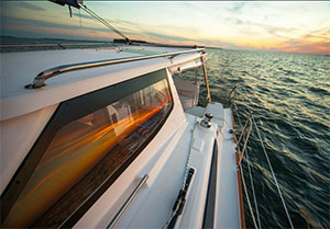 Aft-facing view from the Gemini Legacy 35 port side deck