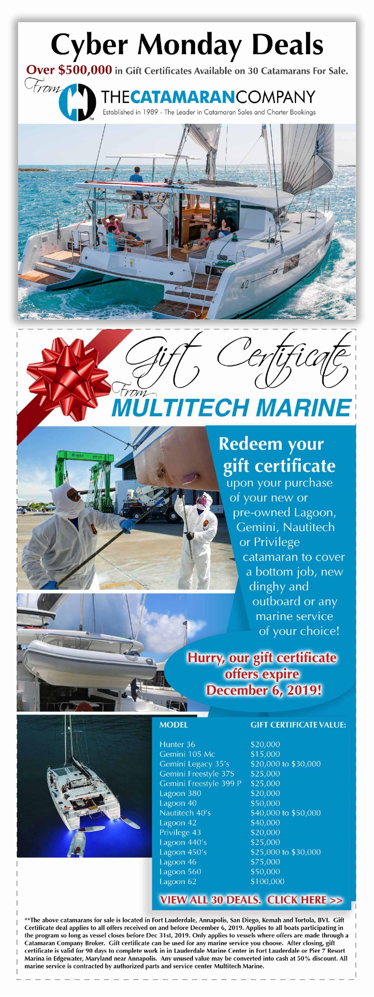 Over $500,000 in Gift Certificates on 30 Catamarans For Sal