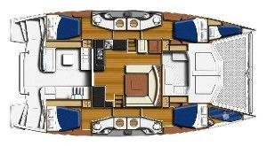 Used Sail Catamaran for Sale 2015 Leopard 48 Layout & Accommodations