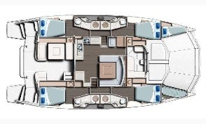 Used Power Catamaran for Sale 2015 Leopard 51PC Layout & Accommodations