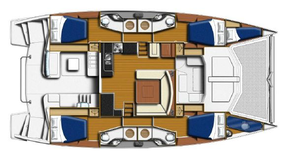 Used Sail Catamaran for Sale 2016 Leopard 48 Crewed Version Layout & Accommodations