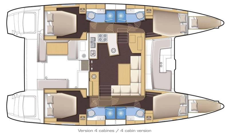 Used Sail Catamaran for Sale 2018 Lagoon 450 F Layout & Accommodations