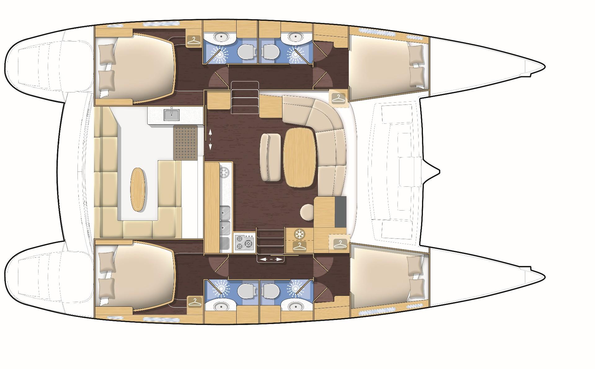 Used Sail Catamaran for Sale 2007 Lagoon 440 Layout & Accommodations