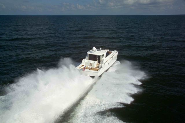 Used Power Catamaran for Sale 2011 Enclosed Helm 53 Boat Highlights