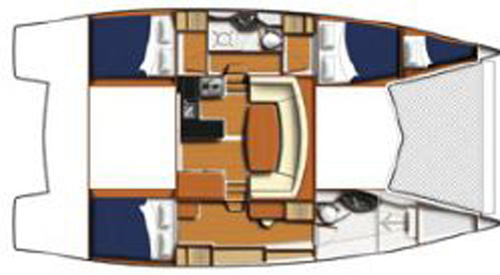 Preowned Sail Catamarans for Sale 2011 Leopard 39 Layout & Accommodations