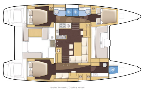 Preowned Sail Catamarans for Sale 2011 Lagoon 450 Layout & Accommodations