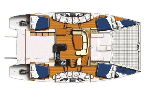 Used Power Catamaran for Sale 2011 Leopard 47 PC  Layout & Accommodations