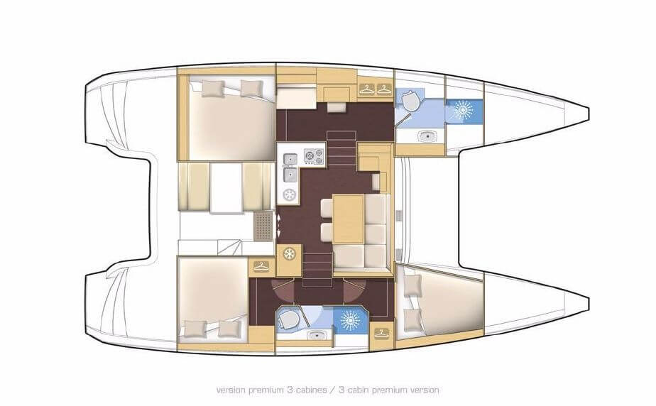 Used Sail Catamarans for Sale 2014 Lagoon 39 Layout & Accommodations