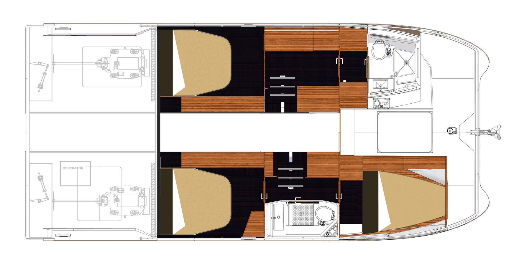 New Power Catamarans for Sale  MY 37 Layout & Accommodations