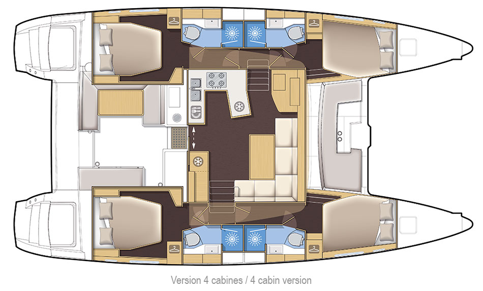 New Sail Catamaran for Sale 2018 Lagoon 42 Layout & Accommodations