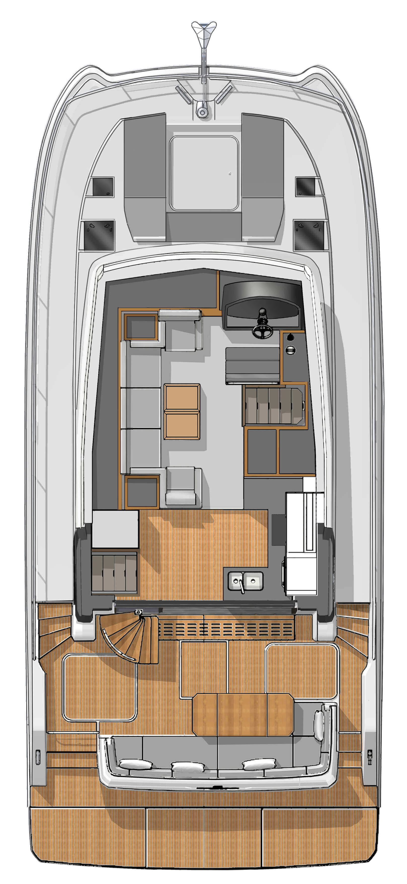 New Power Catamaran for Sale  MY 40 Layout & Accommodations