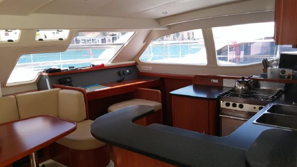 Used Power Catamarans for Sale  Leopard 47 PC  Layout & Accommodations