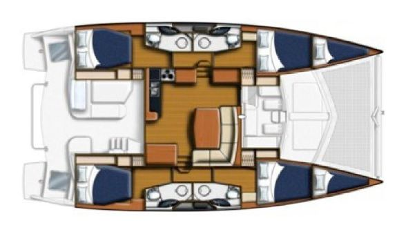 Used Sail Catamarans for Sale 2013 Leopard 44 Layout & Accommodations