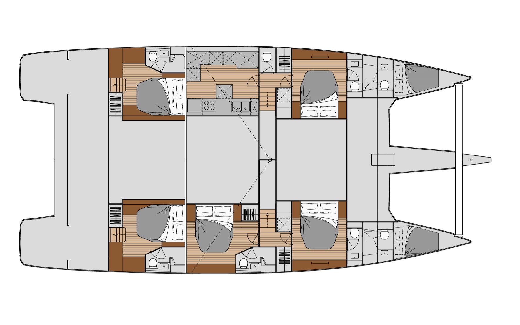 New Sail Catamaran for Sale  Alegria 67 Layout & Accommodations
