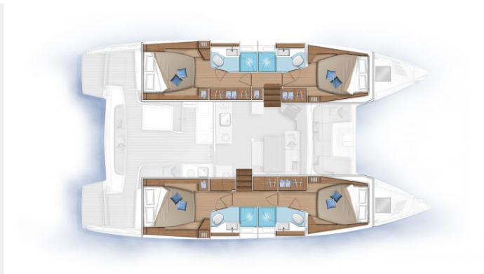 New Sail Catamaran for Sale  Lagoon 46 Layout & Accommodations