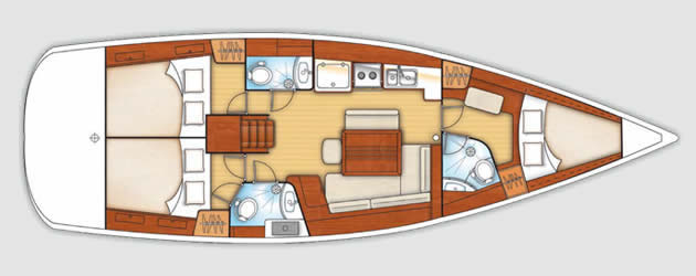 Used Sail Catamarans for Sale 2011 Oceanis Layout & Accommodations