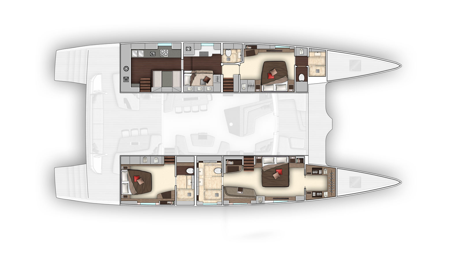 New Sail Catamarans for Sale  SEVENTY 7 Layout & Accommodations