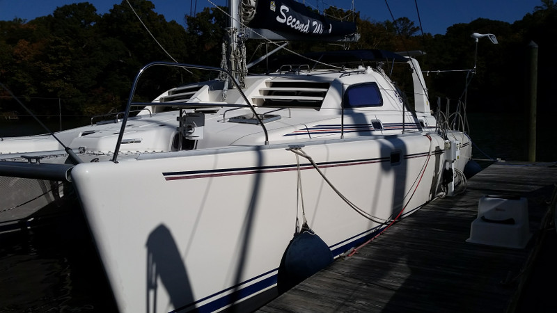 Used Sail Catamaran for Sale 2000 Leopard 38 Deck & Equipment