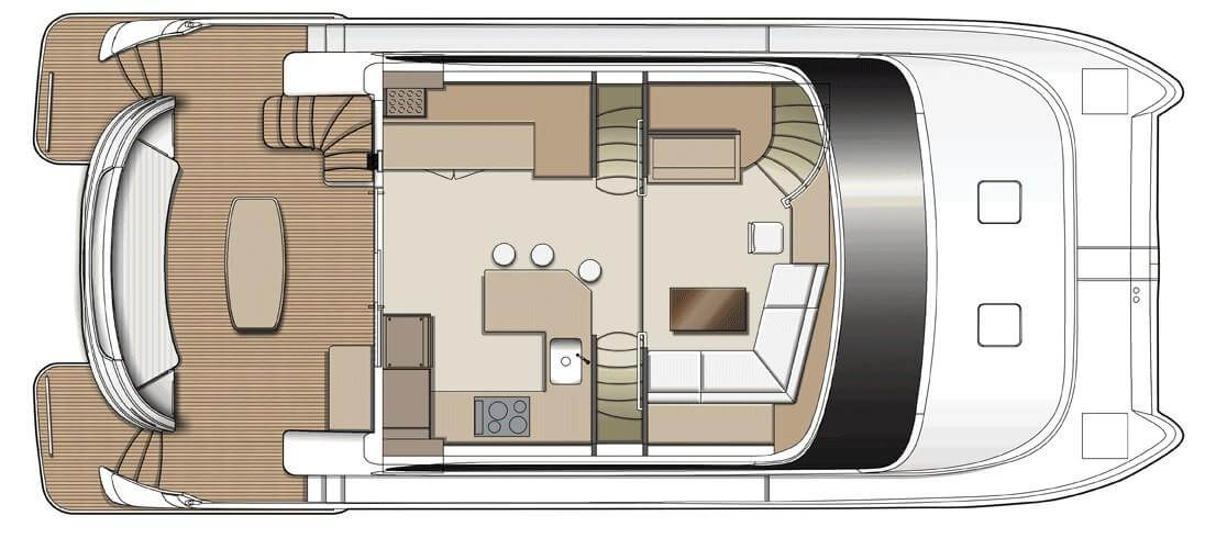 Used Power Catamaran for Sale 2015 Horizon PC52 Layout & Accommodations
