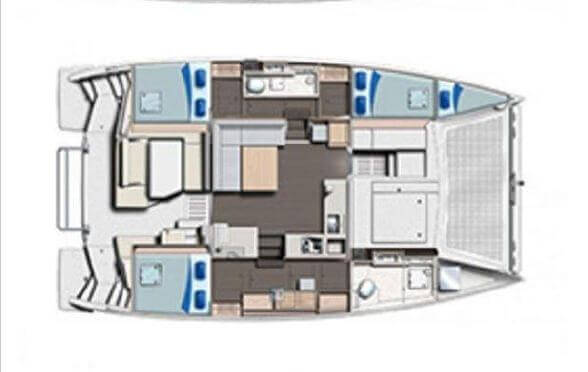 Used Sail Catamaran for Sale 2015 Leopard 40 Layout & Accommodations