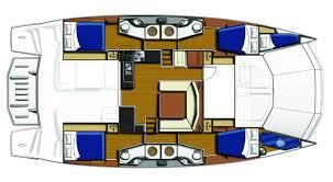 Used Power Catamaran for Sale 2016 Leopard 51PC Layout & Accommodations