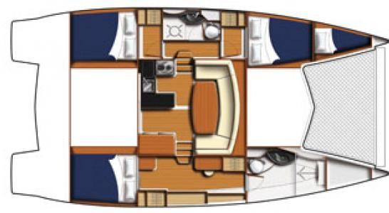 Used Sail Catamaran for Sale 2011 Leopard 39 Layout & Accommodations