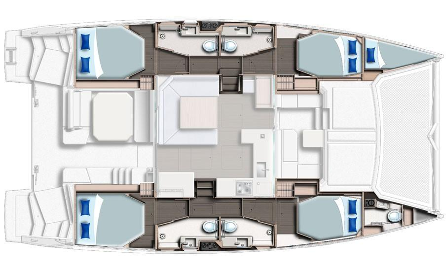 Used Sail Catamaran for Sale 2017 Leopard 45 Layout & Accommodations