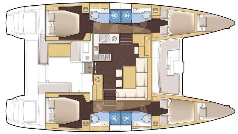 Used Sail Catamaran for Sale 2016 Lagoon 450 Layout & Accommodations