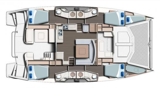 Used Sail Catamaran for Sale 2014 Leopard 48 Layout & Accommodations
