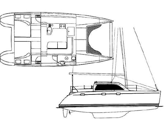 Used Sail Catamarans for Sale 1996 Lagoon 35 CCC Layout & Accommodations