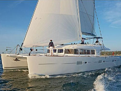 SOLD Lagoon 620   in Helluva Spain CAT GARFIELD  Preowned Sail