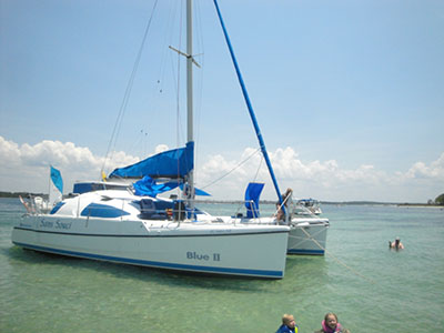 Catamarans SANS SOUCI, Manufacturer: BENETEAU, Model Year: 1987, Length: 34ft, Model: Blue II, Condition: Preowned, Listing Status: Catamaran for Sale, Price: USD 84000